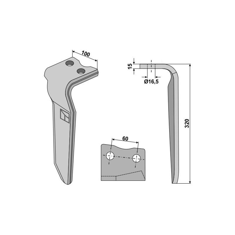 Dent pour herses rotatives, modèle gauche - Howard - 185505