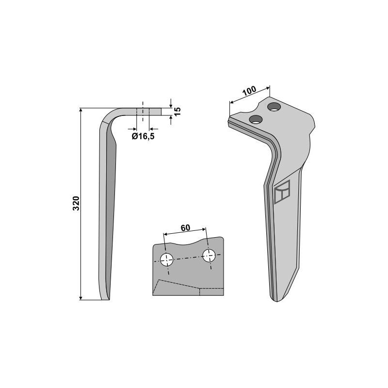 Dent pour herses rotatives, modèle droit - Howard - 185506
