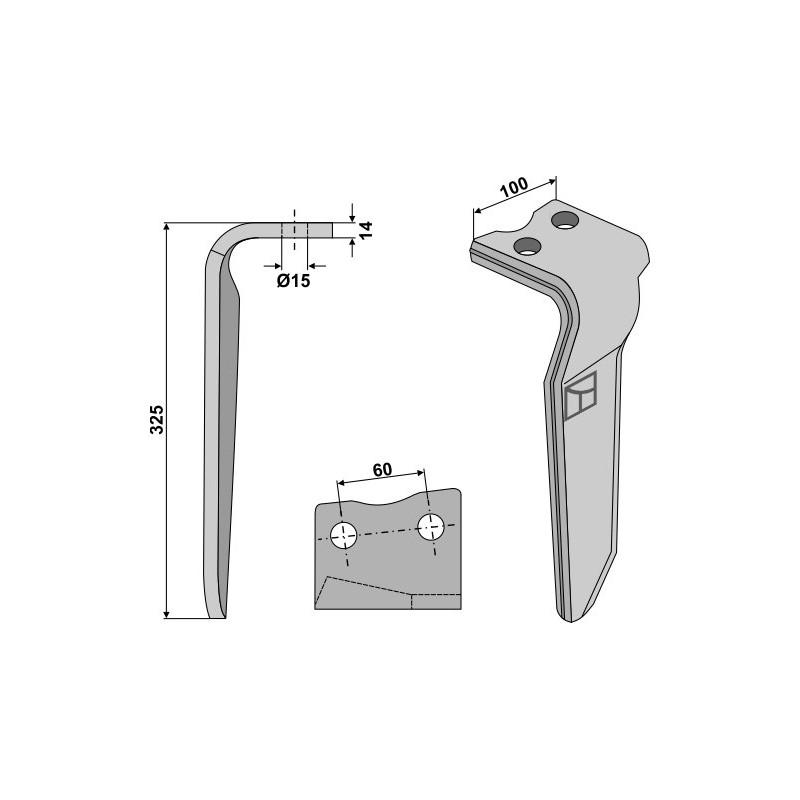 Dent pour herses rotatives, modèle droit - Howard - 182940