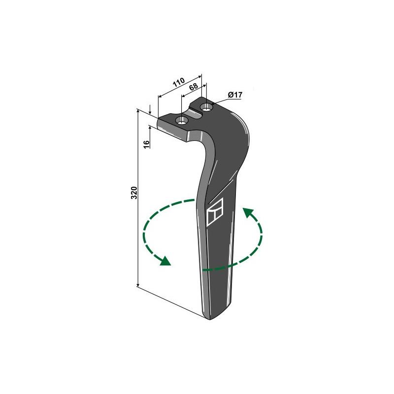 Dent pour herses rotatives, modèle gauche - Kuhn - 525.395.00 - 525.605.00
