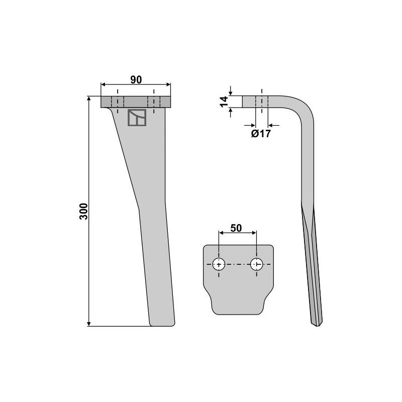 Dent pour herses rotatives, modèle gauche - Sicma - 092800