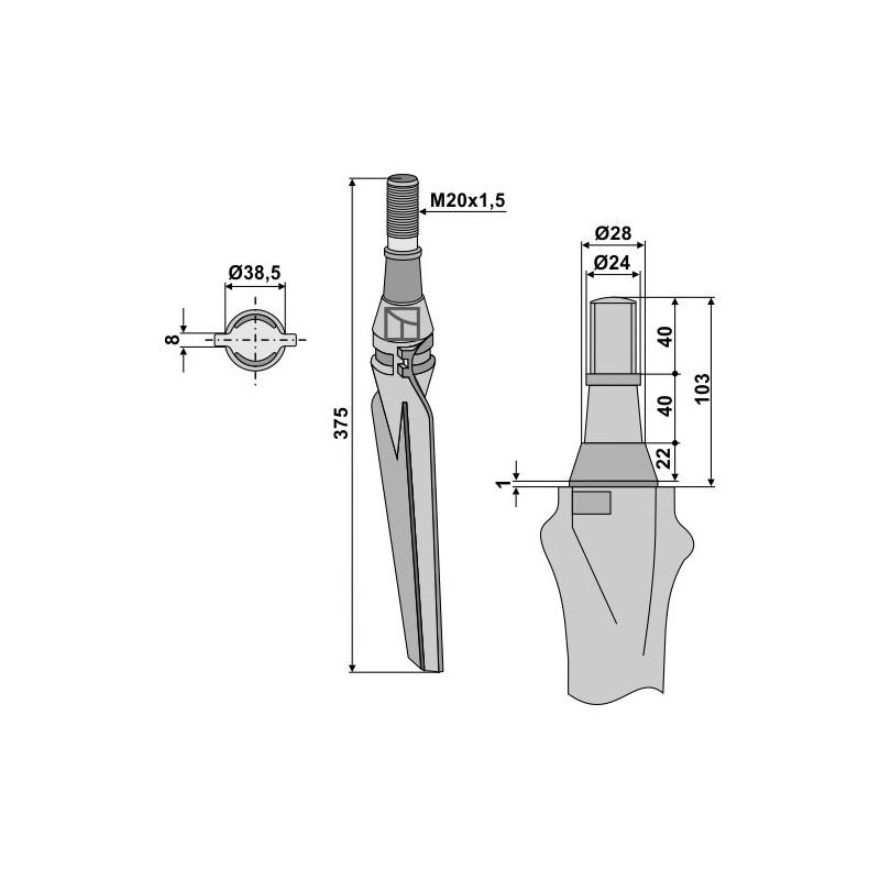 Dent pour herses rotatives, modèle droit - Krone - 4916710