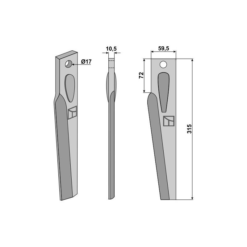 Dent pour herses rotatives, modèle droit - AG000257