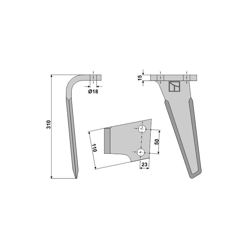 Dent pour herses rotatives, modèle gauche - Landsberg - 052801