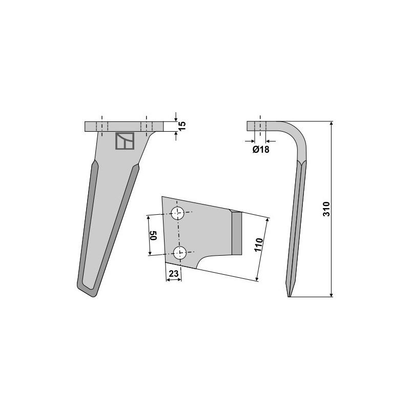 Dent pour herses rotatives, modèle droit - Landsberg - 052701