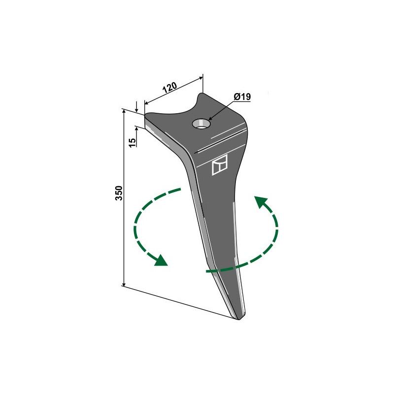 Dent pour herses rotatives, modèle gauche - Amazone - 6575300 (Zinken mit Bolzen: 6171300)