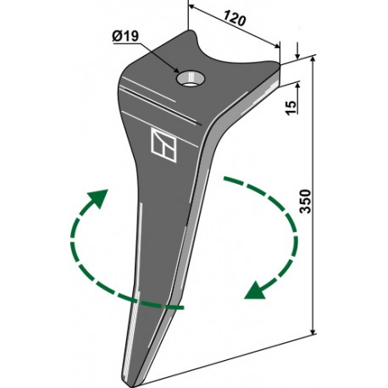 Dent pour herses rotatives, modèle droite - Amazone - 6574300 (Zinken mit Bolzen: 6170300)