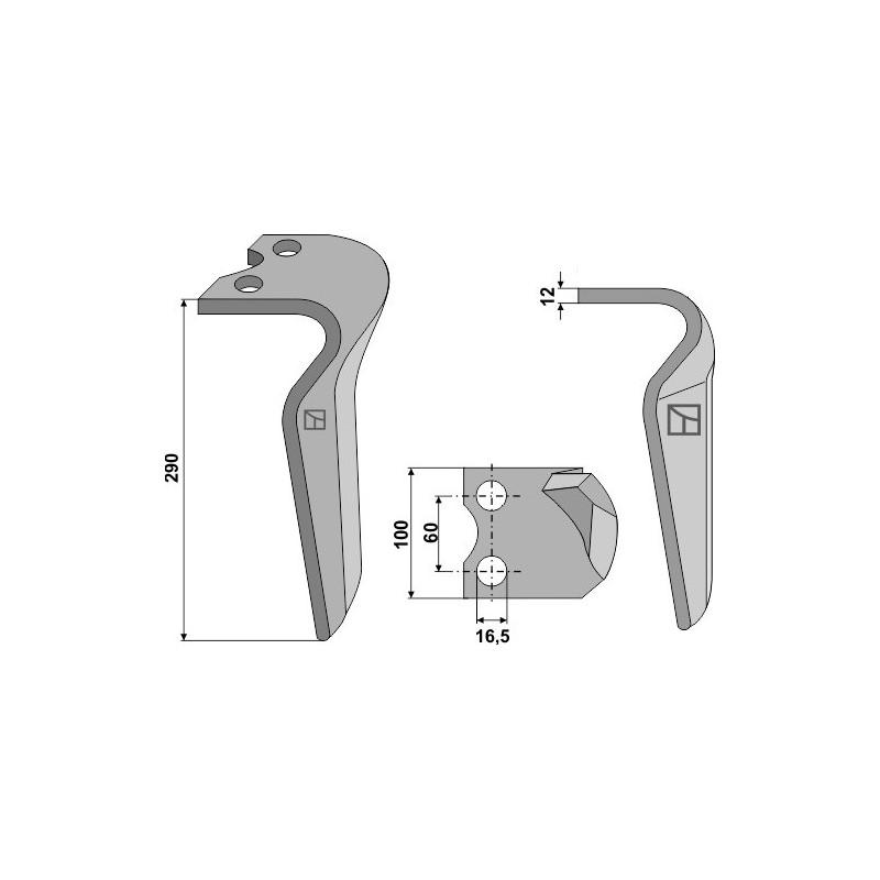 Dent pour herses rotatives, modèle gauche - Pegoraro - 007863