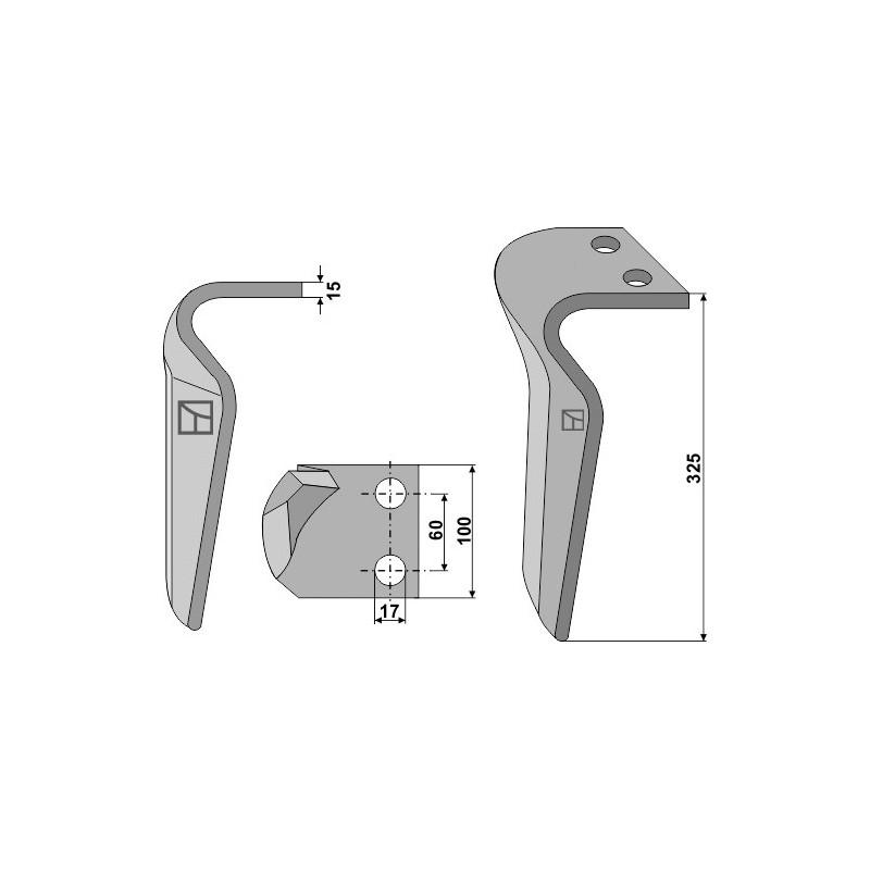 Dent pour herses rotatives, modèle droit - AG000239
