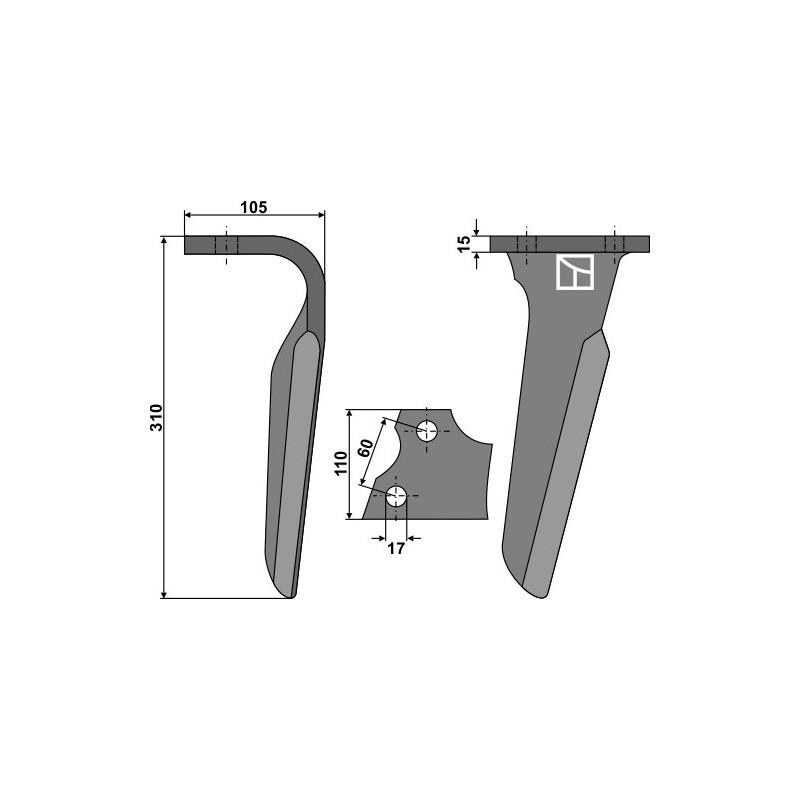 Dent pour herses rotatives, modèle gauche - Alpego - 03001S
