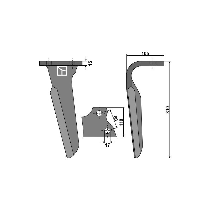 Dent pour herses rotatives, modèle droit - Alpego - 03000D