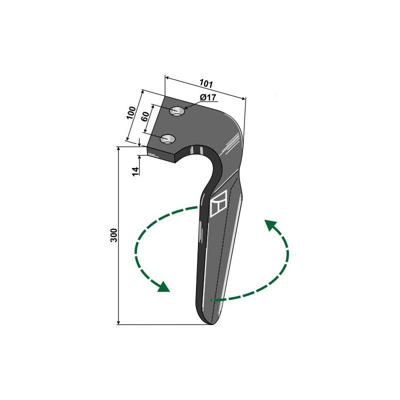 Dent pour herses rotatives, modèle gauche - Alpego - D06700