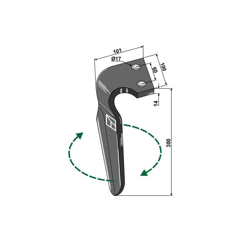 Dent pour herses rotatives, modèle droit - Alpego - D06701