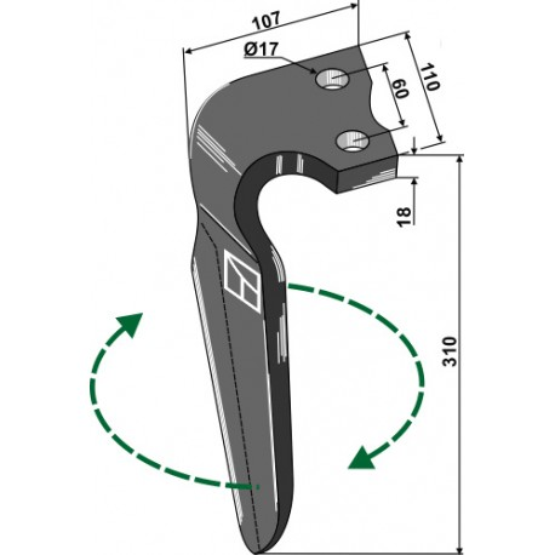 Dent pour herses rotatives, modèle droit - Alpego - 07401