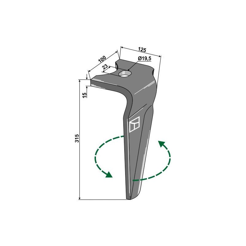 Dent pour herses rotatives, modèle gauche - Alpego - D05650