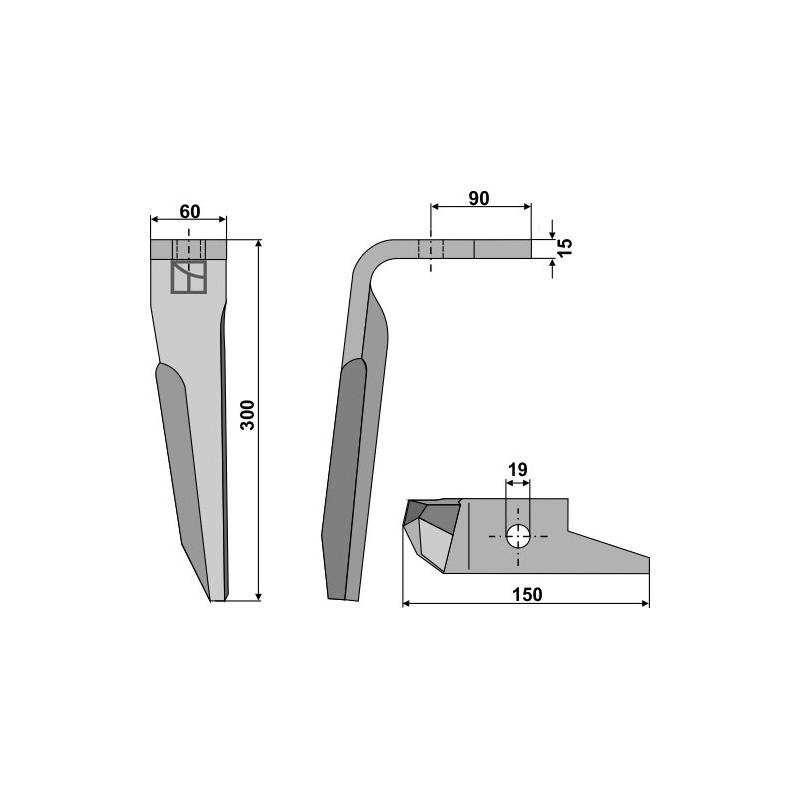 Dent pour herses rotatives, modèle gauche - Amazone - 951012 (Alt) - 950789 (Neu)