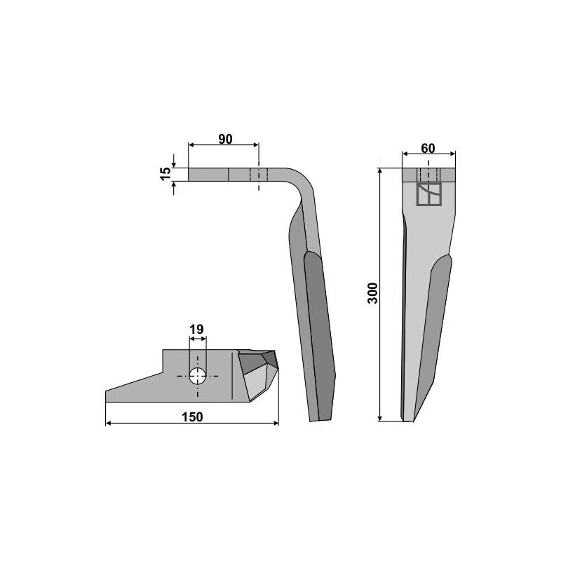 Dent pour herses rotatives, modèle droit - Amazone - 951011 (Alt) - 950788 (Neu)
