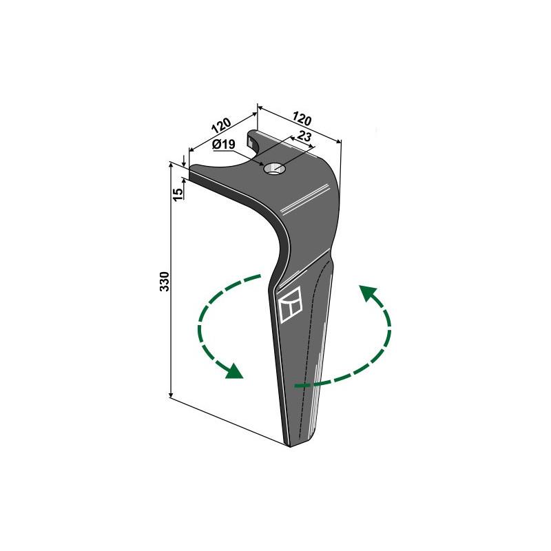 Dent pour herses rotatives, modèle gauche - AG000224