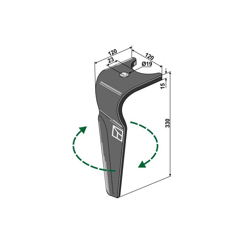 Dent pour herse rotative, modèle droit