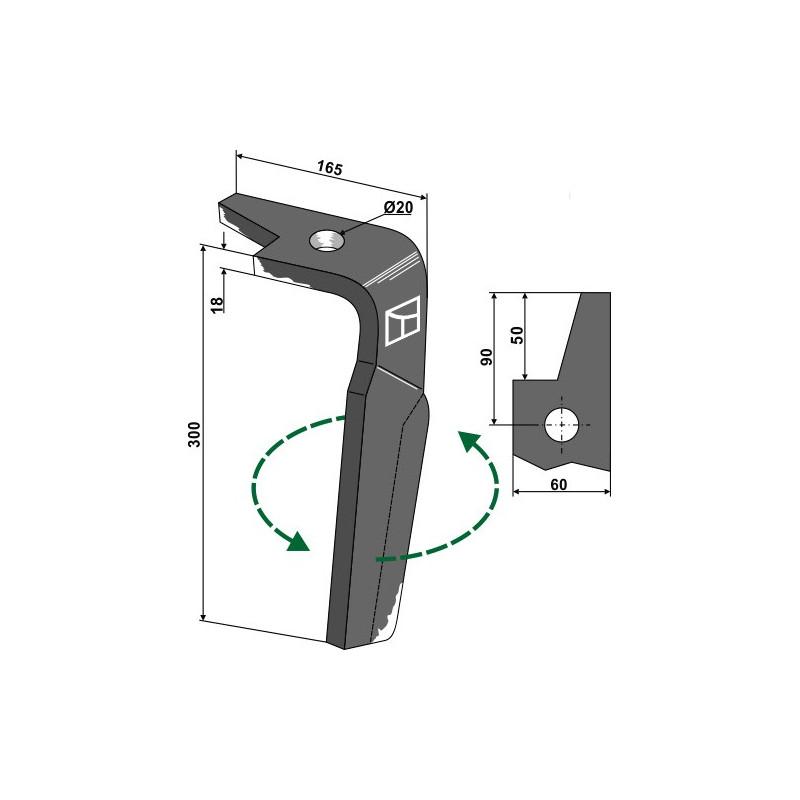 Dent pour herses rotatives, modèle gauche - Amazone - 965781