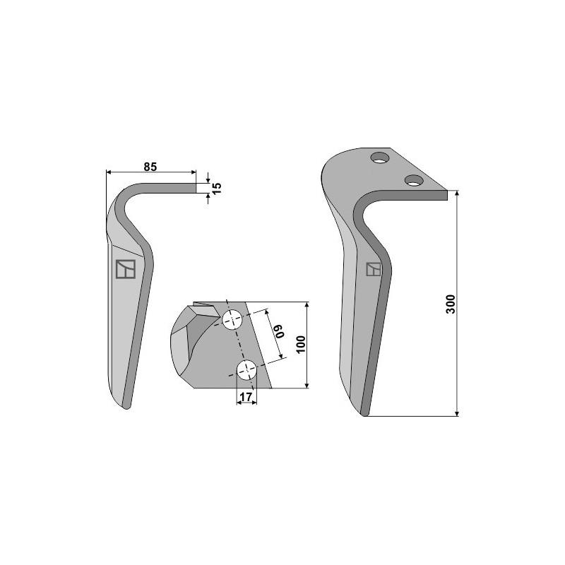 Dent pour herses rotatives, modèle droit - AG000209