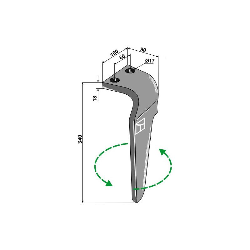 Dent pour herses rotatives, modèle gauche - Regent - EB8300014