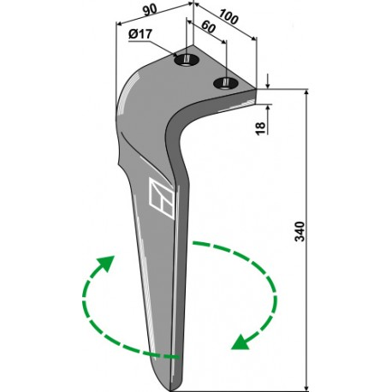 Dent pour herses rotatives, modèle droit - Regent - EB8300013