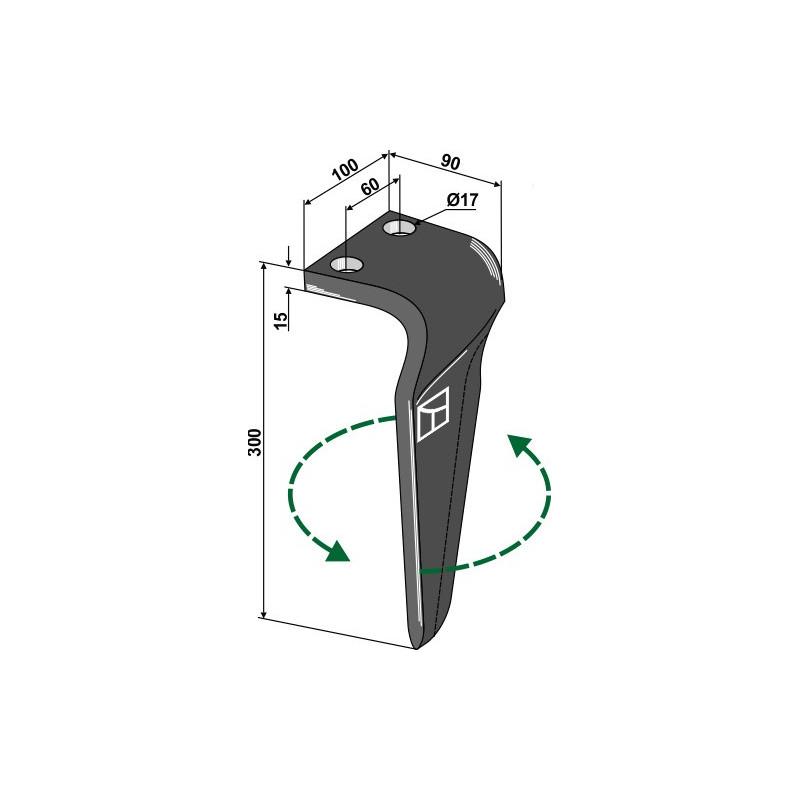 Dent pour herses rotatives, modèle gauche - Breviglieri - 0060184S