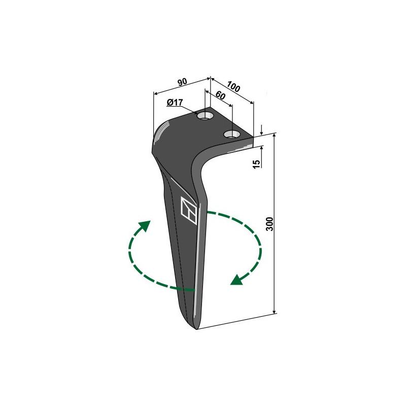 Dent pour herses rotatives, modèle droit - Breviglieri - 0060184D