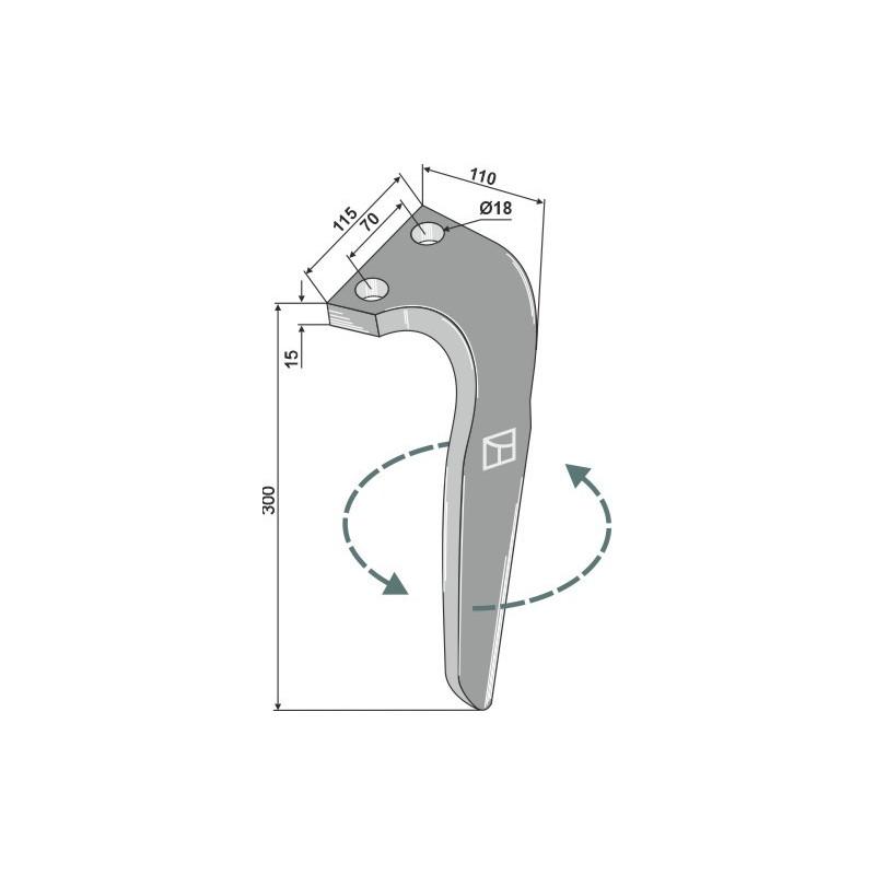 Dent pour herses rotatives, modèle gauche - Falc - 522037