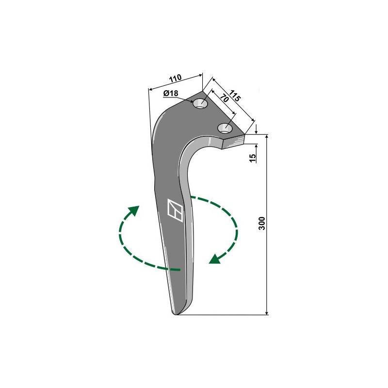 Dent pour herses rotatives, modèle droit - Falc - 522036