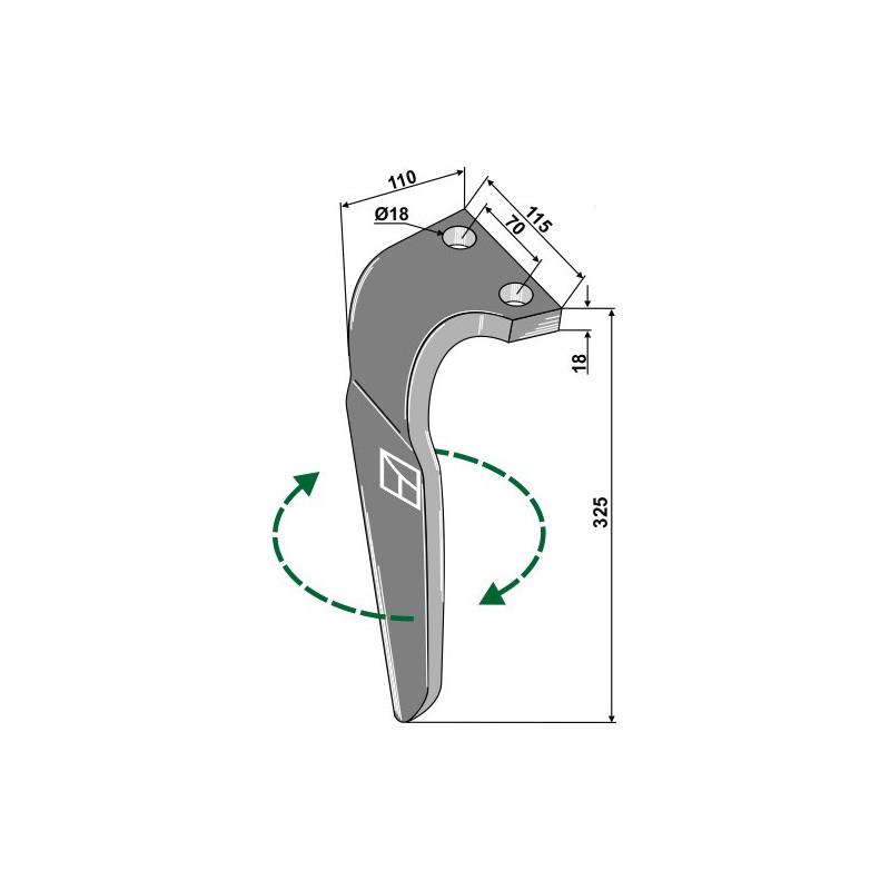Dent pour herses rotatives, modèle droit - Falc - 540129