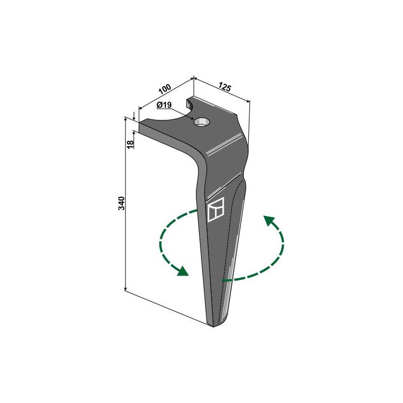 Dent pour herses rotatives, modèle gauche - Falc - 541107