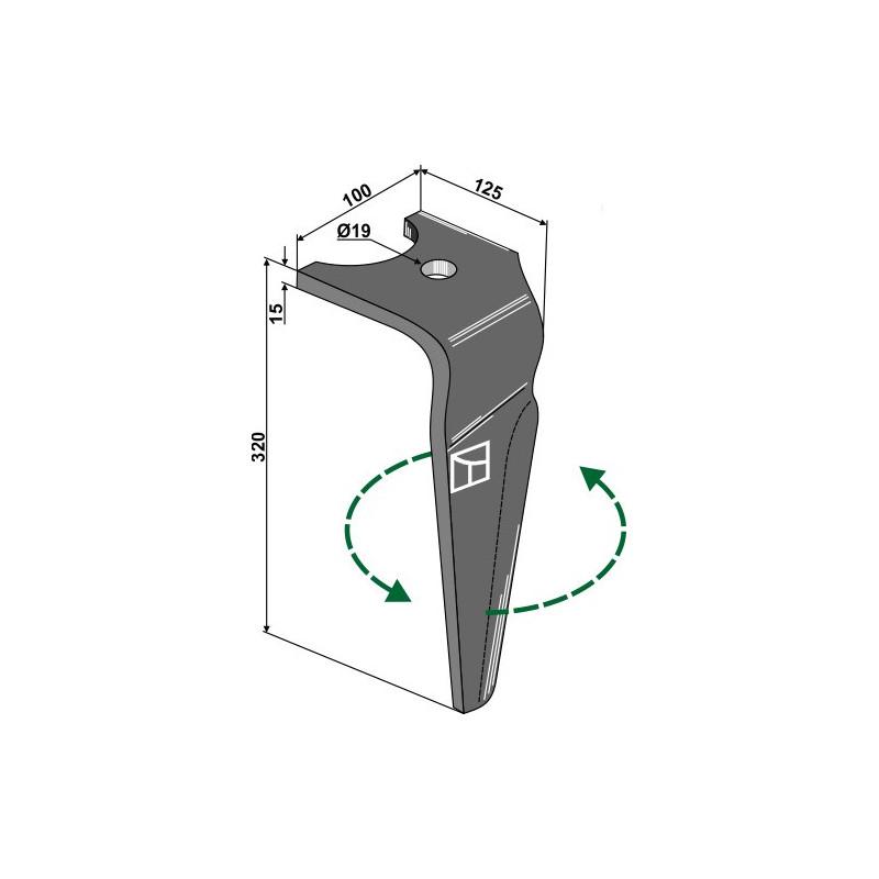 Dent pour herses rotatives, modèle gauche - Falc - 654030