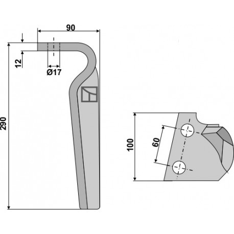 Dent pour herses rotatives, modèle gauche - Feraboli - 7U00032