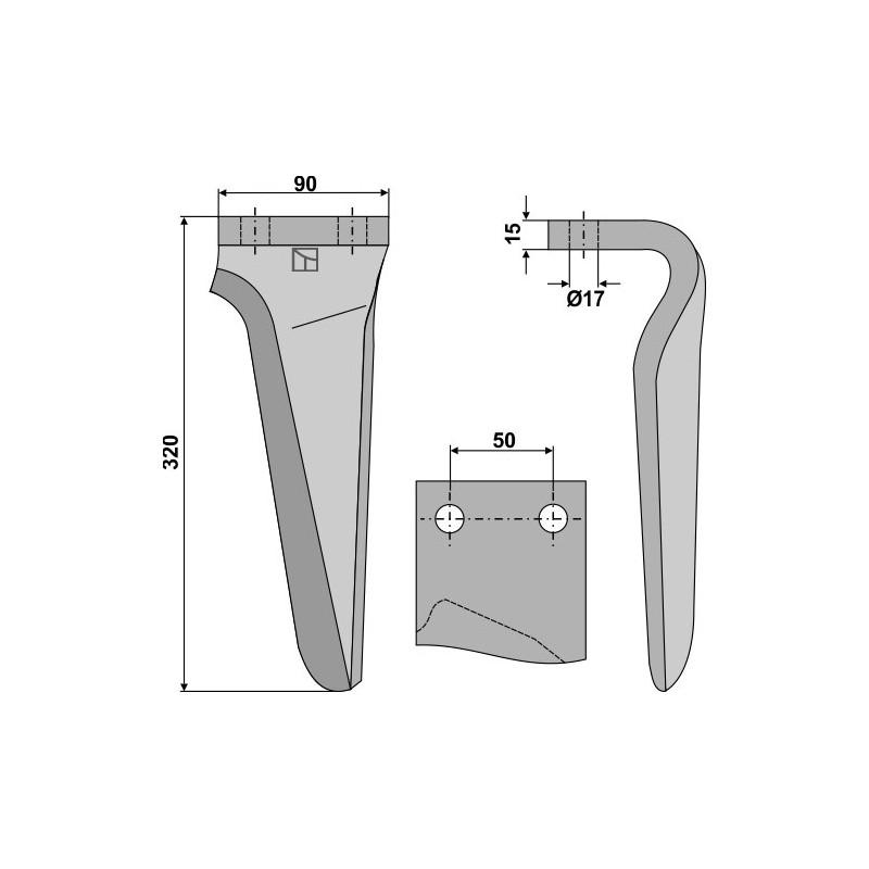 Dent pour herses rotatives, modèle gauche - AG000180