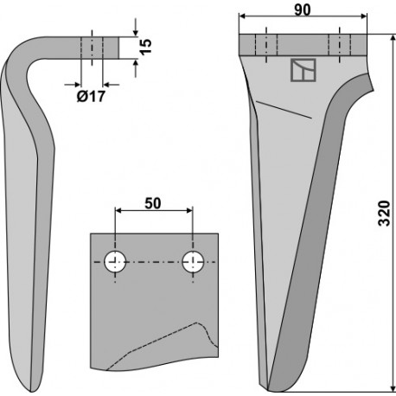Dent pour herses rotatives, modèle droit - AG000179