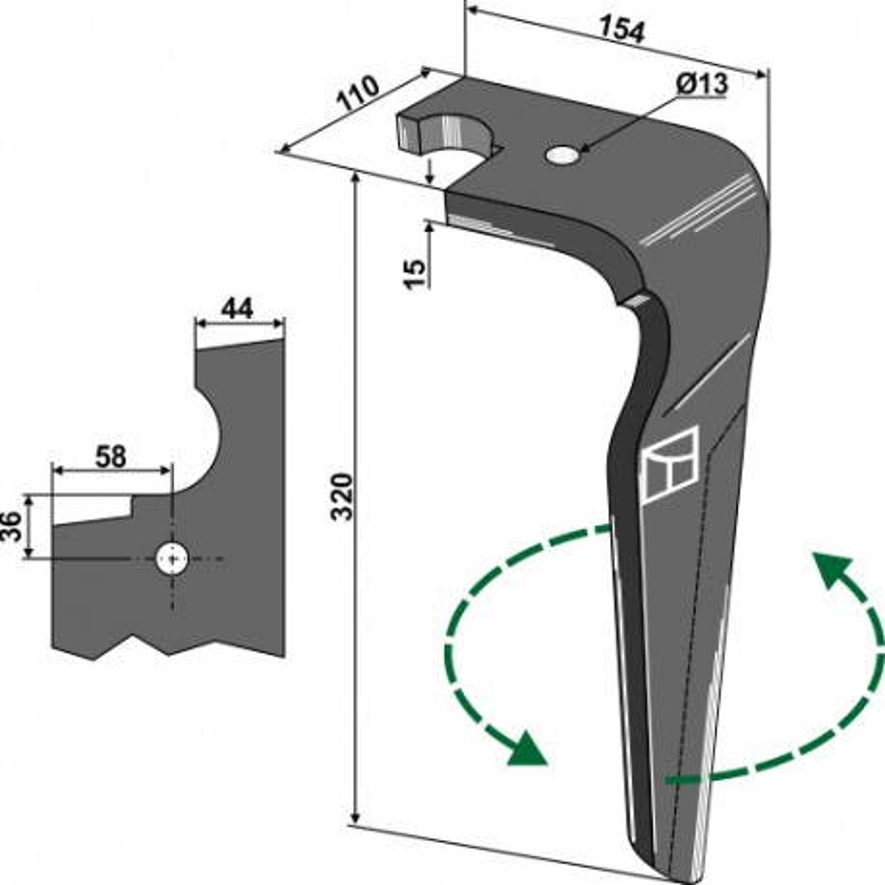 Dent pour herses rotatives, modèle gauche - Feraboli - 07U00039