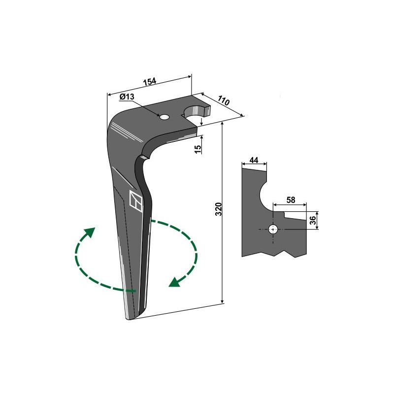 Dent pour herses rotatives, modèle droit - Feraboli - 07U00040