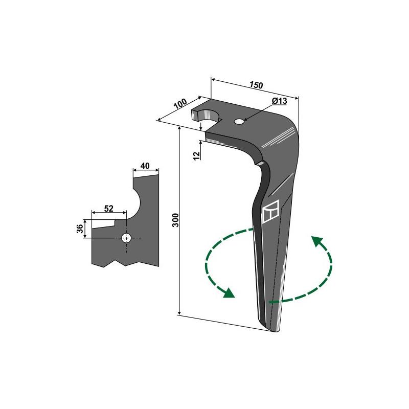 Dent pour herses rotatives, modèle gauche - AG000176