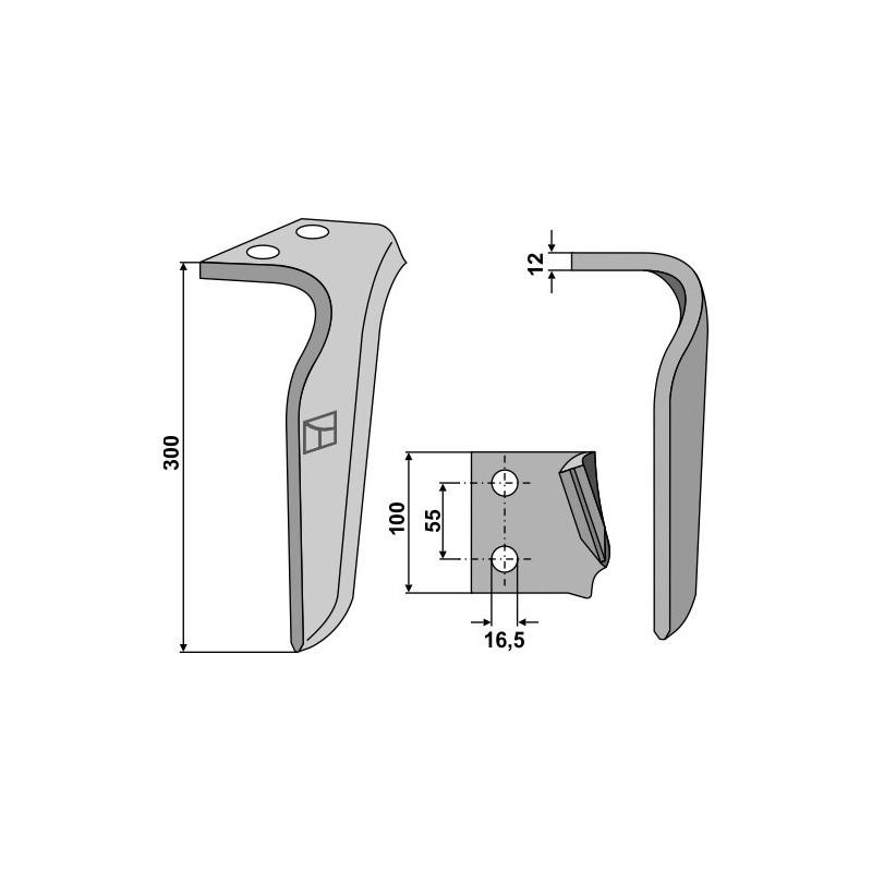 Dent pour herses rotatives, modèle gauche - Frandent - 911 506 00 02