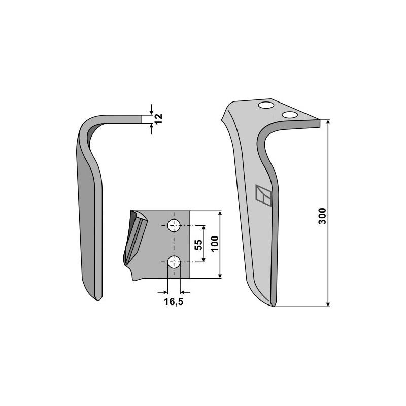Dent pour herses rotatives, modèle droit - Frandent - 911 506 00 01