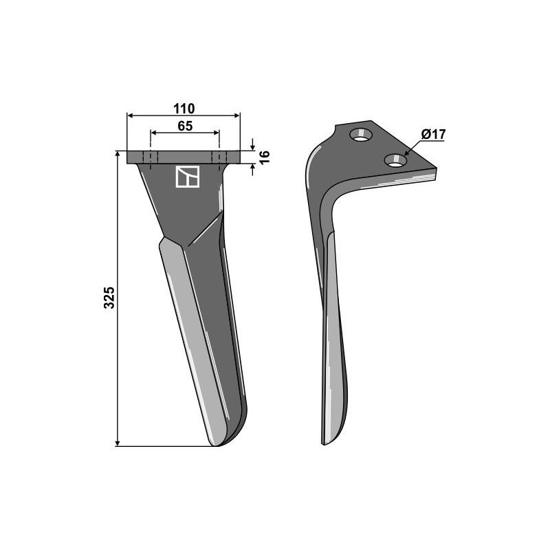 Dent pour herses rotatives, modèle gauche - Sulky - 980145
