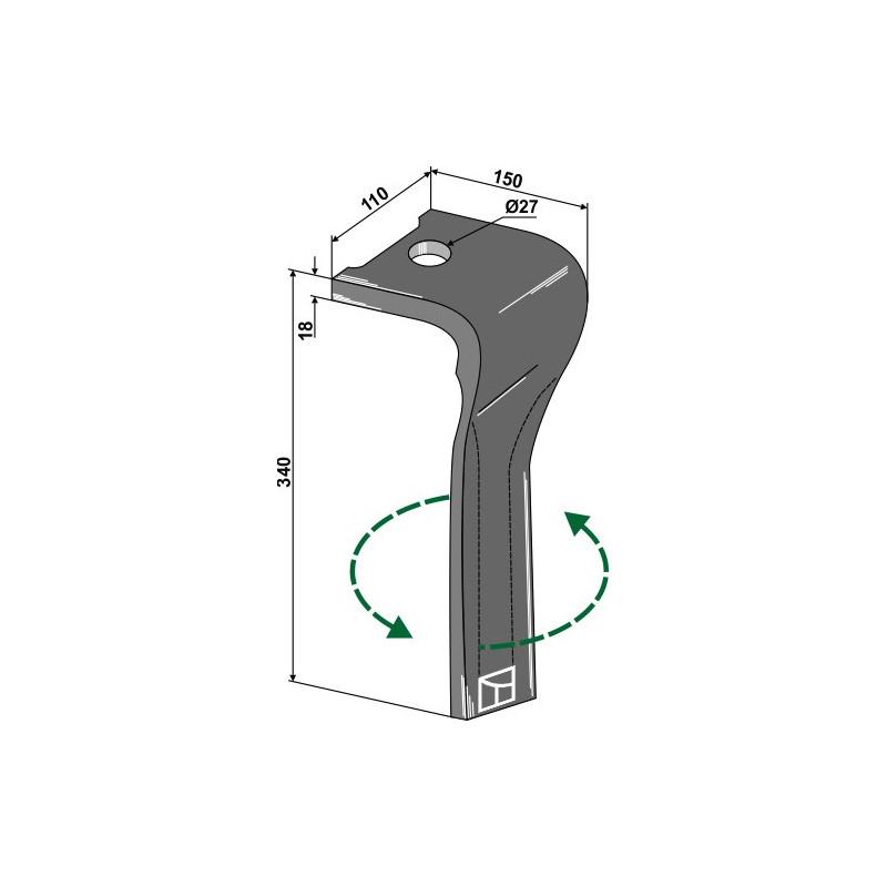 Dent pour herses rotatives, modèle gauche - Landsberg - 873.40.220.1