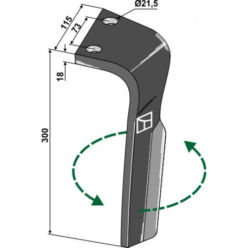 Dent pour herses rotatives, modèle gauche - Lemken - 3377013 - 3377033