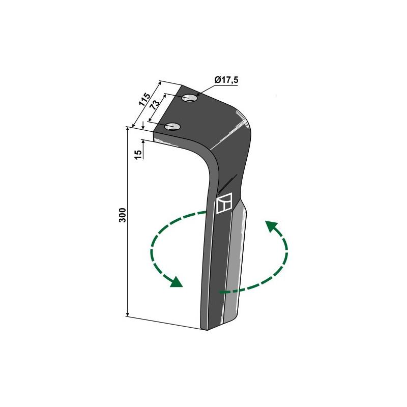 Dent pour herses rotatives, modèle gauche - Lemken - 3377023