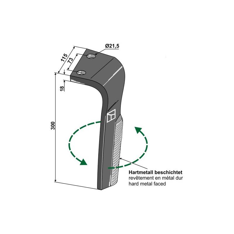 Dent pour herses rotatives, modèle gauche - Lemken - 3377035