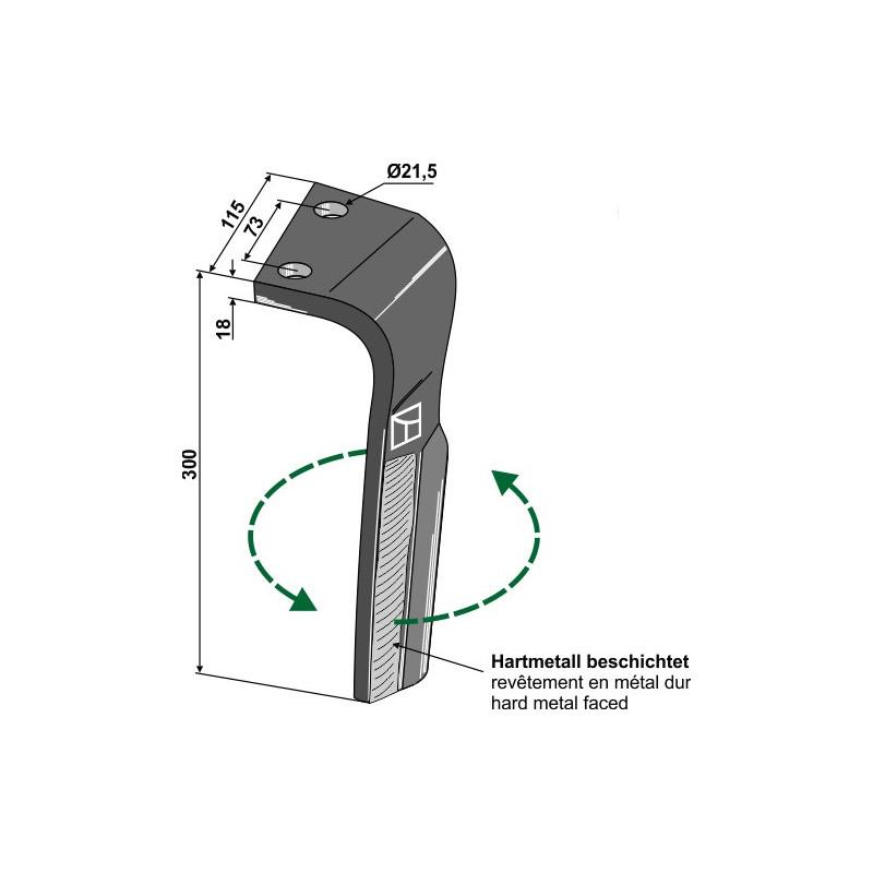 Dent pour herses rotatives, modèle gauche - Lemken - 3377037