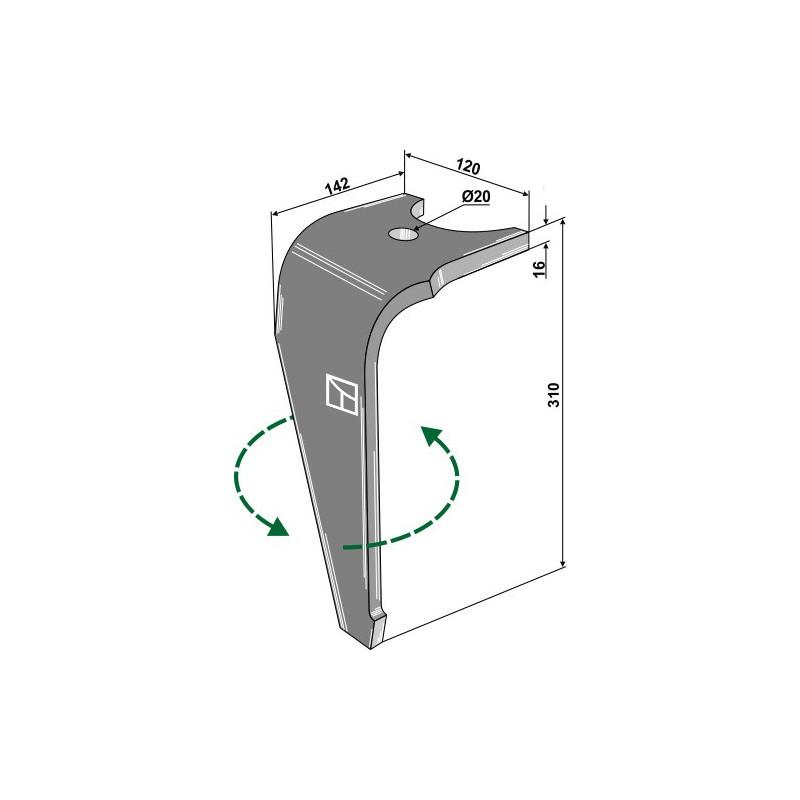 Dent pour herses rotatives, modèle gauche - Kuhn - K2501120