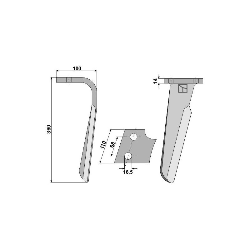 Dent pour herses rotatives, modèle droit - Kuhn - 52552411